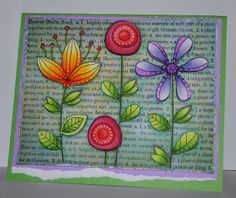 handmade card by Kelly Booth, via Flickr ... fantasy flowers ... colored beautifully with Copic markers ... Hero Arts