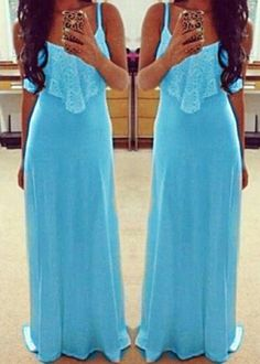 Light Blue Patchwork Lace Condole Belt Maxi Dress