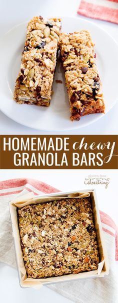 This chewy homemade granola bar recipe is endlessly customizable with different mix-ins and nuts. Perfect for school (or work) lunchboxes! A good granola bar recipe is flexible. This is a good homema Healthy Granola Bars, Chewy Granola Bars, Muesli Bars, Healthy Bars, Gluten Free Granola Bars Recipe, Healthy Muesli Bar Recipe, Healthy Eating, Oat Bars, Healthy Foods