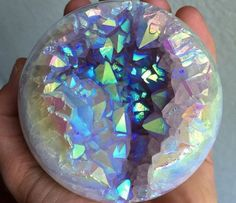 G - Angel aura quartz-agate sphere Minerals And Gemstones, Rocks And Minerals, Angel Aura Quartz, Aqua Aura Quartz, Crystal Magic, Crystal Sphere, Crystal Cluster, Quartz Crystal, Beautiful Rocks