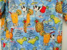 Big Dogs Large Hawaiian Shirt Blue Tropical Drink with Dog Names Colorful Fun