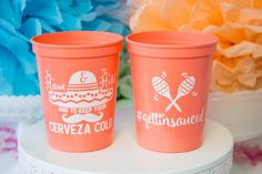 To Have And To Hold And To Keep Your Cerveza Cold fiesta themed wedding cups. They'll make the perfect addition to your party or event! - Yippee Daisy  #fiestathemeddecor #weddingdeccor