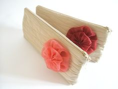 Trendy sand taffeta clutch with a coral red or burgundy flower brooch.  Contact me if you like to order a set for bridesmaids. If you need other color