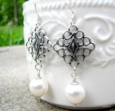 Pearl Filigree Earrings Antique Silver by BellaDonnaJewelryCo, $25.00