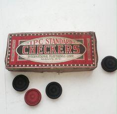 Checkers in Original Box Circa 1950 Toy Vintage / by ScrappyPuppy, $21.00