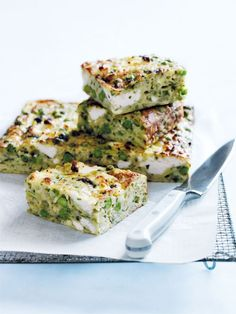 Donna Hay - Zucchini Pea and Pesto Slice. A variation on the traditional zucchini slice.