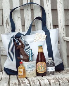 Guests staying in the hotels at this Connecticut wedding enjoyed welcome bags filled with sailors'goodies, including Mast Brothers Chocolate, Anchor Steam beer, an anchor bottle opener, sea-salt nuts, rum, Life Savers, and personalized water bottles.