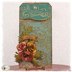 embossed tag w/ Damask & Regal Flourish Texture Fade set; Vintage Photo Distress Ink; Clear Rock Candy Distress Crackle Paint