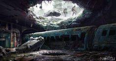 Landscape. subway hole. wanderers with guns. winter. ice. Tube by 5ofnovember