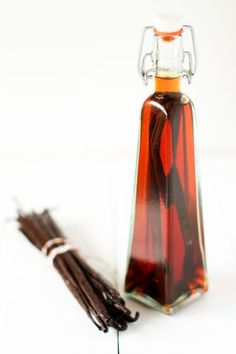 Vanilla Extract:  5 vanilla beans per 8 ounces of 70 proof alcohol.Any type of alcohol can be used, but bottom shelf vodka is most common because it will not add any additional flavors to the extract.  Bourbon, rum and brandy can also be used. After 8 short weeks the extract is ready to enjoy.