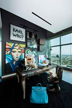Penthouse by Maxime Jacquet Karl Who?  Great gallery wall in office
