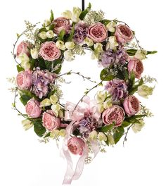 Pink Cabbage Rose Spring Wreath - Spring Wreath