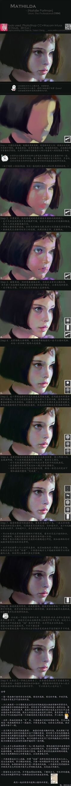 """Realistic Drawing Techniques Mathilda, One of my favorite character in movie """"Léon: The Professional"""" was played by Natalie Portman. Photo study, around 10 hours. Tools used : Photoshop CC Wacom - Digital Painting Tutorials, Digital Art Tutorial, Art Tutorials, Painting Process, Process Art, Painting Tips, Performance Artistique, Graphisches Design, Art Graphique"""