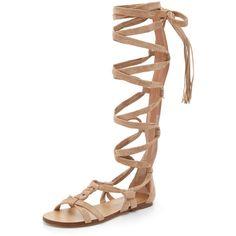 Sigerson Morrison Boni Suede Gladiator Sandals ($505) ❤ liked on Polyvore featuring shoes, sandals, dark beige, roman sandals, strappy gladiator sandals, suede gladiator sandals, leather sole shoes and suede sandals