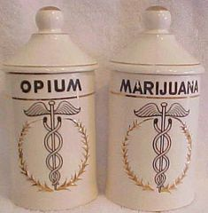 Vintage opium & marijuana apothecary jars. These would be so cool in the guest bathroom. Conversational piece / peace. lol