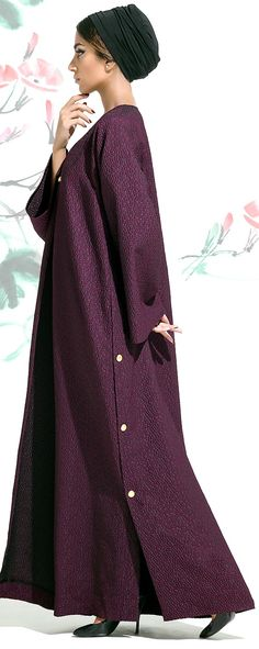 Mauzan Fall Winter A-Line Signature Cut with Mauzan Buttons Islamic Fashion, Muslim Fashion, Modest Fashion, Fashion Outfits, Hijab Abaya, Modele Hijab, Abaya Designs, Hijab Style, Dress Clothes For Women