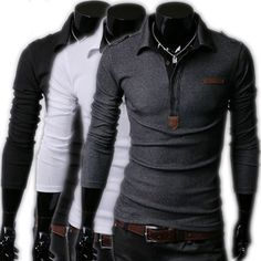 Men's CasuaL Stylish Slim Long sleeve POLO Shirt T-shirts Tee Tops on Etsy, $24.15