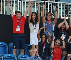That's the one: the Duchess of Cambridge celebrates the winning goal with, left, former hockey player Richard Leman, right, gold medal rower Katherine Grainger and, front, Dame Kelly Holmes.  August 10, 2012.  ...... Olympics- London, England