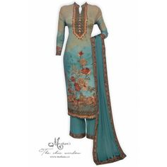 Elegant olive green printed semi stitched suit highlighted with swarovski and gota work-Mohan's the chic window