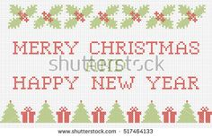 Merry Christmas and Happy New Year greeting card. Vector cross-stitch embroidery