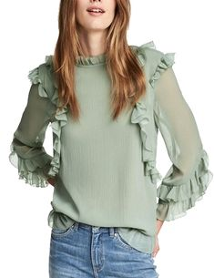 Details about  /girls Beaded Lolita Tops Shirt Mesh Sheer Lace Ruffles Blouse Top Flare Sleeve