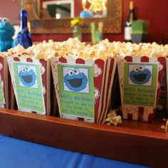 Cookie monster party food set up