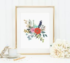 Posies, Watercolor Flower Posy, Home Decor, Wall Decor, Watercolor Flowers, Canvas Wall Art, Artwork, Floral Print, Prints, Kitchen Decor