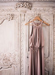 Paris engagement shoot- blush pink intricate carved wardrobe with a moodier pink silk dress hanging on it. Styled by Jessica Sloane. Dusty Pink, Pink And Gold, Blush Pink, Rose Gold, Purple, Paris Film, Do It Yourself Furniture, Coming Up Roses, Pink Room
