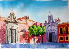 Acuarela Plaza San Lorenzo Sevilla Gran Poder Building Painting, Urban Sketchers, Visual Arts, Cool Drawings, Sketching, Watercolor, Photography, Inspiration, Xmas