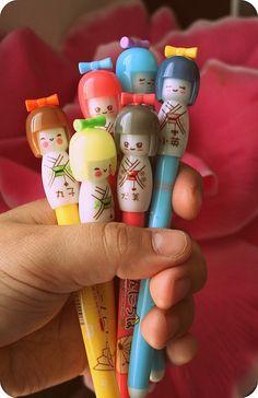 Kokeshi type pens :D Soo cute!