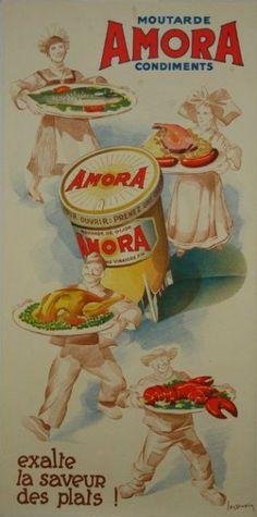Moutarde Amora-1946-1950... ...réépinglé par Maurie Daboux ღ¸.•*¨`*•..¸