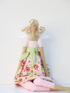 Pretty Angel fabric doll in pink rose by HappyDollsByLesya on Etsy, $39.00