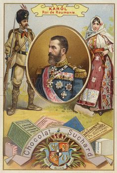 Carol I King of Romania. Educational card, late or early century. Romania People, Romanian Royal Family, History Images, Kaiser, European History, Vintage Travel Posters, My King, Royal Caribbean Cruise, Illustration Art