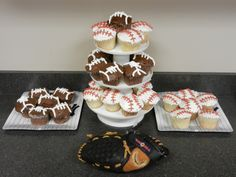 Sports themed party cupcakes: chocolate with mint mouse filling and chocolate buttercream icing and vanilla with marshmallow mouse filling and vanilla buttercream icing