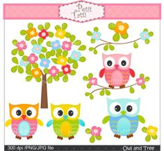 owl clip art, flower tree clip art , Digital clip art. for all use,Owl and flowers tree, owls clip art