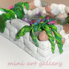 Fish pond / handmade lake, polymer clay, resin, mirror Mini Art Gallery by ArtSista Fotini www.artsista.wordpress.com