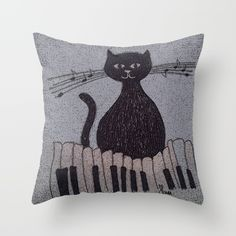 cat Throw Pillow by sliackyjo Cat Throw, Buy A Cat, Art For Sale, My Arts, Throw Pillows, Cats, Toss Pillows, Gatos, Cushions