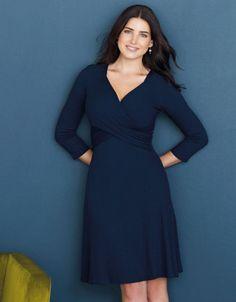 Florence Rib Dress in Navy by Bravissimo Clothing