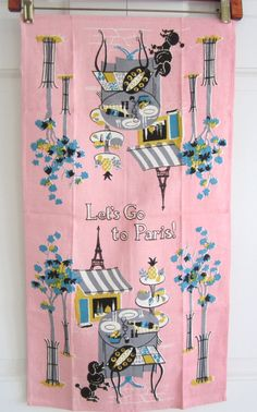 Vintage Towel Eiffel Tower French Poodle by NeatoKeen on Etsy