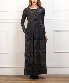 Look at this #zulilyfind! Charcoal Arabesque Maxi Dress - Women #zulilyfinds
