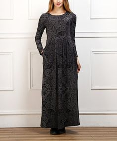 This Charcoal Arabesque Maxi Dress is perfect! #zulilyfinds