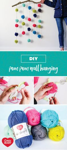 For a craft idea that will curb your pom pom obsession, check out this tutorial using Red Heart Chic Sheep Yarn by Marly Bird! However you choose to use these colorful, DIY poms, you can bet that the wide variety of bright, happy colors and the soft, high-quality nature of merino wool will make them the perfect accent to a variety of projects. This fun wall hanging is sure to show you that even beginners can make a trendy home decoration!
