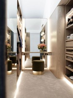 Walk-in wardrobe design inspiration, curved and illuminated joinery in a similar tone to floorboards on the ground floor Walk In Closet Design, Bedroom Closet Design, Closet Designs, Bedroom Storage, Walk In Robe Designs, Bedroom Inspo, Bedroom Designs, Bedroom Ideas, Wardrobe Room