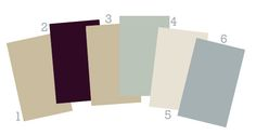 "Benjamin Moore ""Aura"" line (whole-house color scheme).   1. Pensive, 2. Caponata, 3. Pensive, 4. Flora, 5. Jute, 6. Amsterdam"