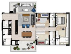 Planta 145 m² Beautiful House Plans, Beautiful Homes, Architectural Prints, House Floor Plans, Home Goods, Sweet Home, Layout, House Design, Flooring
