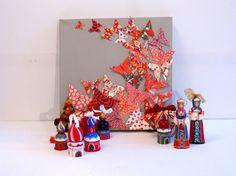 Tableau envolée de papillons rouges sur fond greige, par Estampapier (vendu).