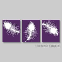 Purple and White Peacock Feather Trio by RhondavousDesigns2.