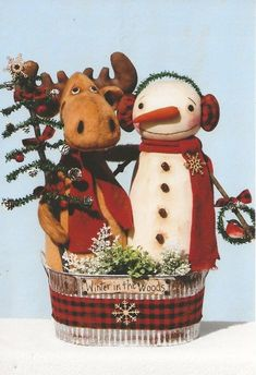 Snowman, Moose PATTERN - Winter in the Woods - HHF480