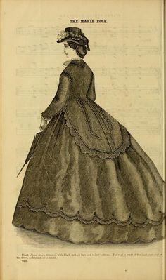 The Marie Rose, Godey's magazine, 1864 Historical Costume, Historical Clothing, Victorian Era Fashion, Civil War Fashion, Book And Magazine, American Civil War, Retro Dress, Fashion Plates, Day Dresses