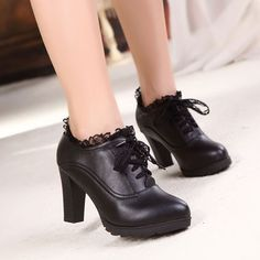 Lace Chalaza Leather High Heels Shoes |Women's Boots - Women's Shoes - ByGoods.com